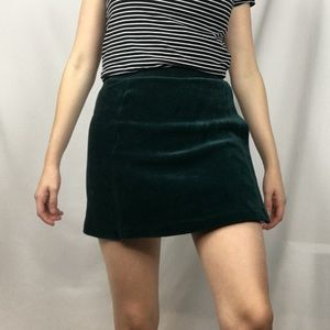 F21 Green Soft Ribbed Faux Wrap Skirt  Size Small